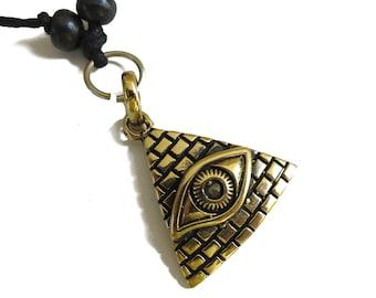 All-seeing eye Pendant, the eye of Providence Pendant   Gold tone Adjustable rope   Mystic Symbol Pendant for Men Women