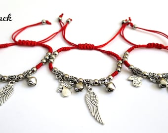 6x Angel's Wing Bell Angel Charms Cord Bracelet, good Luck charm bracelets, Party Favors Bag fillers