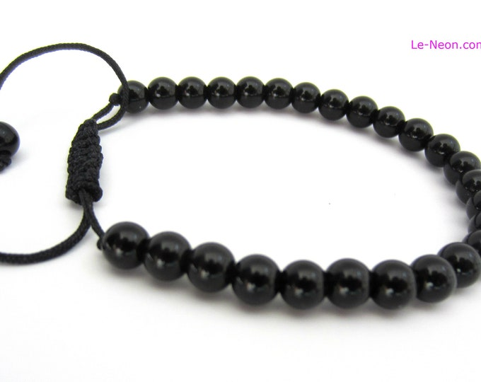 Black Onyx Bracelet | Onyx Gemstone Beads Bracelet, Adjustable Knot | for Man, Woman, Men's Beaded Bracelet, 6mm-8mm, knot closure