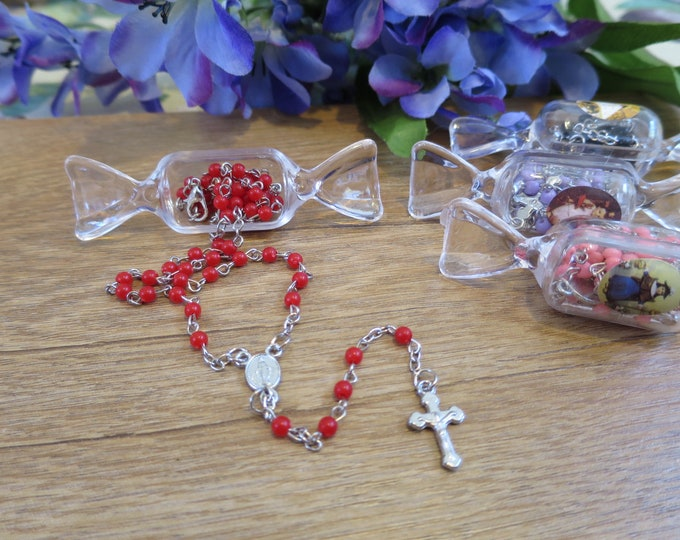 12x Colorful Candy Rosary Favors, Mixed colors, Miraculous Medal, Baptism first Communion, recuerdos bautizo niña