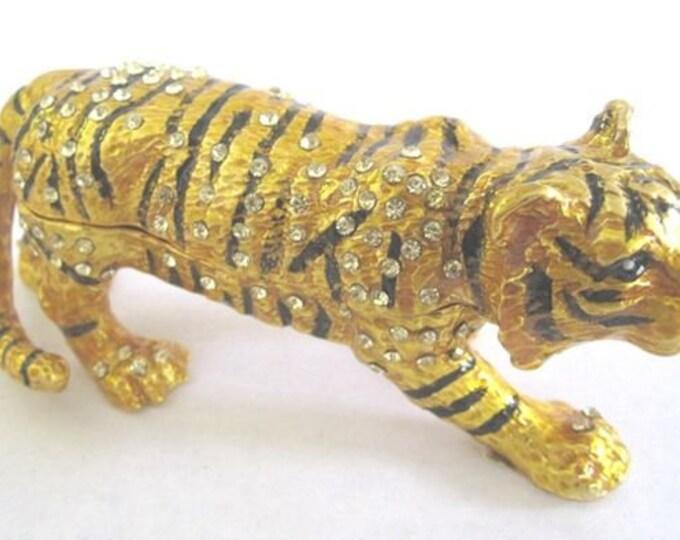 "Bejeweled "" Gold Tiger "" Hinged Metal Enameled Rhinestone Trinket Box"