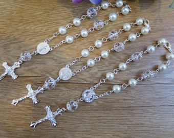 12 x Pearl Rosary Bracelet Favors, Christening Baptism Communion Recuerdos Bautizo Quinceanera