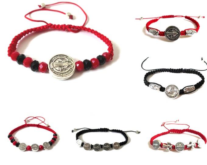 St. Benedict Medal Cord Bracelet, Catholic Saint Bracelet, san Benito, Choose your style