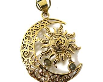 Sun Moon Pendant Om symbol Pendant   Gold tone, labradorite gemstone, Adjustable rope   mystical Sacred Symbol