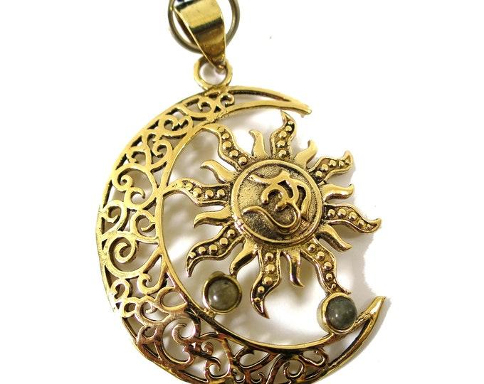 Sun Moon Pendant Om symbol Pendant | Gold tone, labradorite gemstone, Adjustable rope | mystical Sacred Symbol