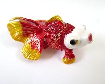 """Bejeweled """" Red Goldfish """" Hinged Metal Enameled Rhinestone Trinkdeet Box"""