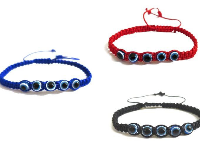 Choose your color (1 pc) Tiny Evil Eye Bracelet for Kids or teens, Adjustable Evil Eye Cord Bracelet, Good Luck Protection for boys girls