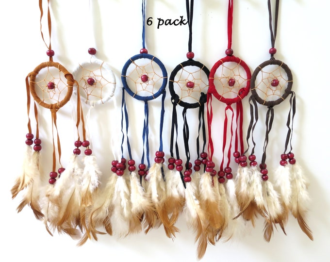 """6 pc Hand Made 2"""" x10""""  Dream Catcher Wall Hanging Car Decor Wholesale Lot"""