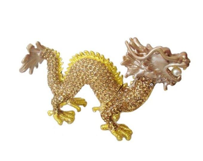 """Bejeweled """" Oriental Dragon """" Hinged Metal Enameled Rhinestone Trinket Box"""