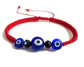 Blue Glass Evil Eye Cord Bracelet, Turkish Blue Evil eye, Adjustable Red Cord Bracelet, Lucky Charm Protection