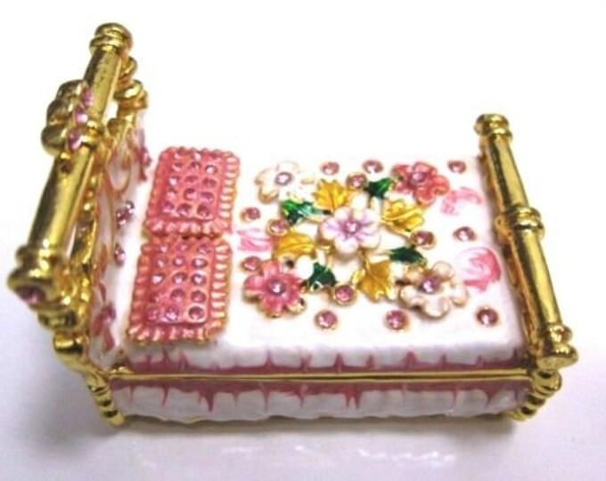 """Bejeweled """" Flower Bed """" Hinged Metal Enameled Rhinestone Trinket Box"""