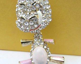 """Purse Charm """" Puppy with Movable body & Tail """"  Keychain Crystal Rhinestone Sparkling Key Ring Gift for Dog Lovers"""