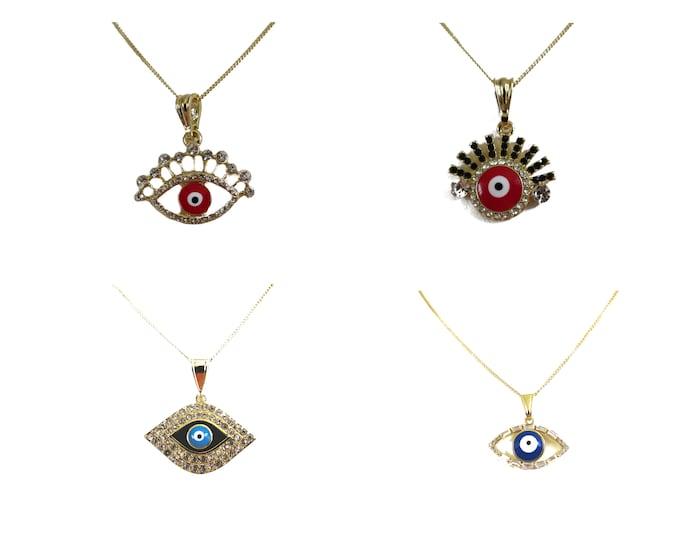 14K Gold Filled Evil Eye Pendant   Protection Evil eye Necklace   women's Evil eye jewelry, Choose your style