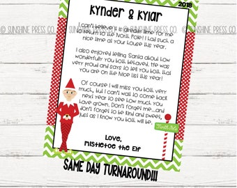 personalized elf return and goodbye letters personalized elf letters elf welcome letter elf goodbye letter elf printables