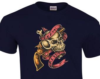 Nouvelle mort crâne Gun Premium qualité T-shirt haute qualité DTG imprimés  tailles de S à 5XL livraison rapide gratuite. b9202f37793