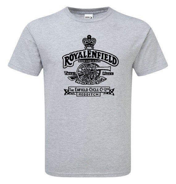 Royal Enfield Vintage Style Motorcycle T Shirt Black