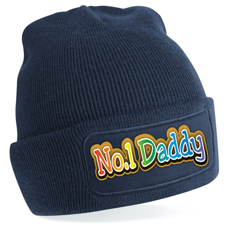 Warm Five Star Number One Daddy Fathers Day Multi Colour Print Beanie Headwear.