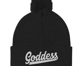 Womens Clothing Goddess Embroidered Beanie Hat Toque Maiden Mother Crone Triple Goddess Wicca Themed