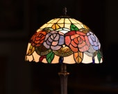 12 quot Rose Style Leadlight Stained Glass Tiffany Bedside Lamp