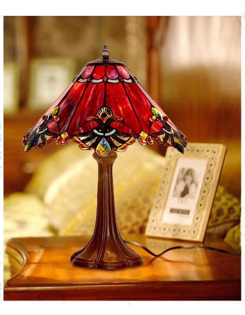 maroon bedside lamp