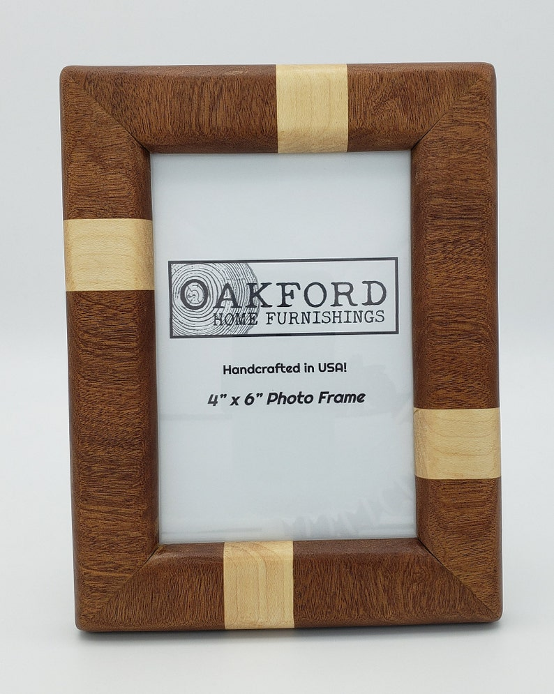 Wood Picture Frame Gift for Weddings Housewarming Minimalist Sapele Birthday Modern 4x6 Picture Frame Maple Striped Handmade
