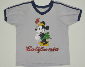 160985c3 Minnie Mouse California T Shirt Walt Disney by Sherry Mig Biege Size M  Vintage 90's Made In USA Cartoon Tees Short Sleeve Shirt