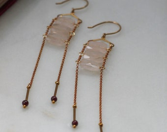 Garnet Rose Quartz Earrings on Chain Ladder and Vintage Brass findings