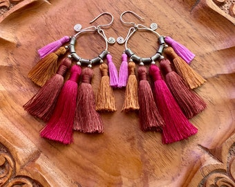 Sterling Silver Fuchsia Bali Tassel Hammered Hoop earrings with African Silver beads