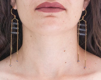 Blue Iolite Earrings on Chain Ladder and Vintage Brass findings