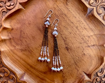 Anisha (Iridescent black, iridescent purple,& opal glass) Seed Bead Tassel Earrings Strung on Silk w/ Czech Seed beads and Copper Findings