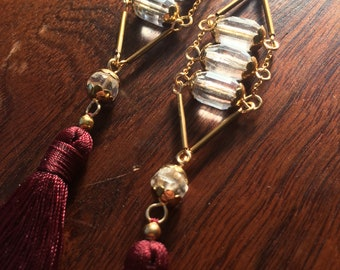 Oxblood Quartz Earrings with Vintage Brass and Deep Burgundy Red Bali Tassels