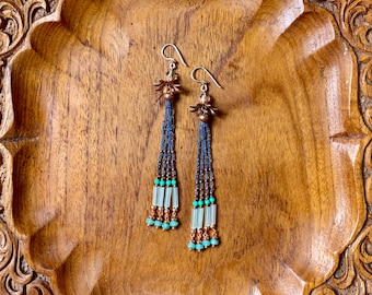 Aquamarine (Capri blue, Copper and Seafoam Green) Seed Bead earrings on Silk Cord with Czech glass, Fluorite, and Copper findings