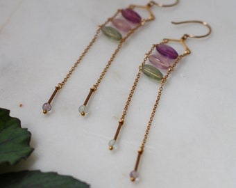 Purple and Green Fluorite on Chain Ladder with Vintage Brass findings