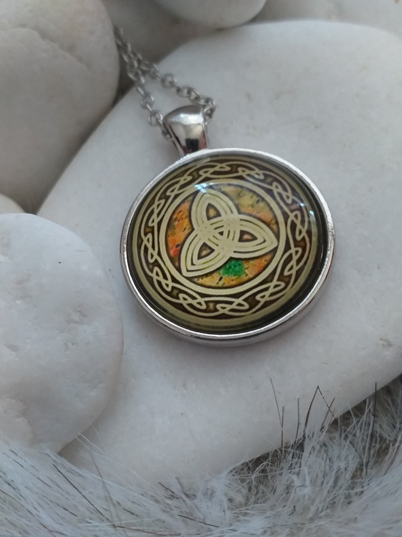 Gift for Her Gold Celtic Triskele Necklace Petite Triskelion Pendant Triquetra Triangle Love Knot