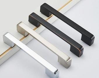 "Matte Black Oil Rubbed Bronze Cabinet Door Handle Pull Brushed Nickel Chrome Dresser Drawer Knobs Pulls Modern Handles 3.78' 5""6.3""7.55""8.8"""