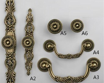 "4"" Antique Style Solid Brass Plate Drawer Handle 1500A//B"