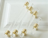 3.0 quot 3.5 quot 4 quot 4.5 quot 5.5 quot 6.3 quot 7.55 quot 14 quot Drawer Pull Acrylic Gold Clear Dresser Pulls Cabinet Door Handles Bar Pull Knobs Bathroom Handle Hardware