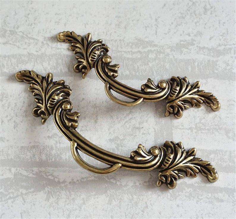 2.5/'/' 3.78/'/' Vintage Cabinet Pull Handle Drawer Knobs Pulls Handles Dresser Pull Handle Flower Knobs Rustic Antique Bronze Kitchen  64 96 mm