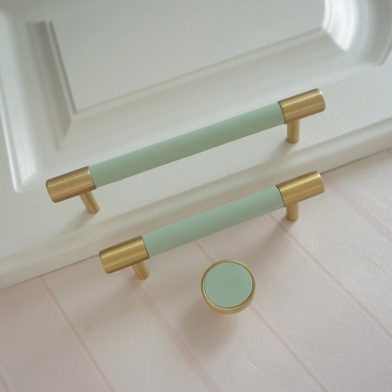 3.78/'/' 5/'/' 8.8 Cabinet Door Handles Colorful Dresser Drawer Knobs Pulls Solid Brass Wardrobe Handles Closet Pulls Leather Kitchen Handle