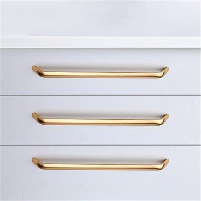 3.78 5 6.3 7.55\u2018 8.8\u201c  11.3\u201c 12.6\u201c Gold Drawer Pulls DresserHandles Kitchen Cabinet Handles Modern Cupboard Door Handle Decor288 320
