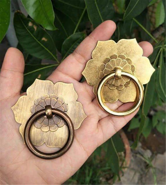 Antique Bronze Brass Drawer Knob Back Plate Drop Ring Pulls Etsy