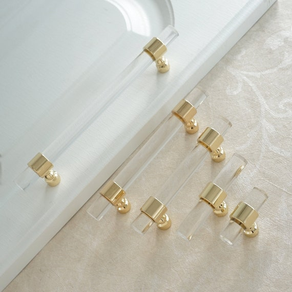 Customizable Drawer Pulls And Knobs Acrylic Gold Clear Etsy