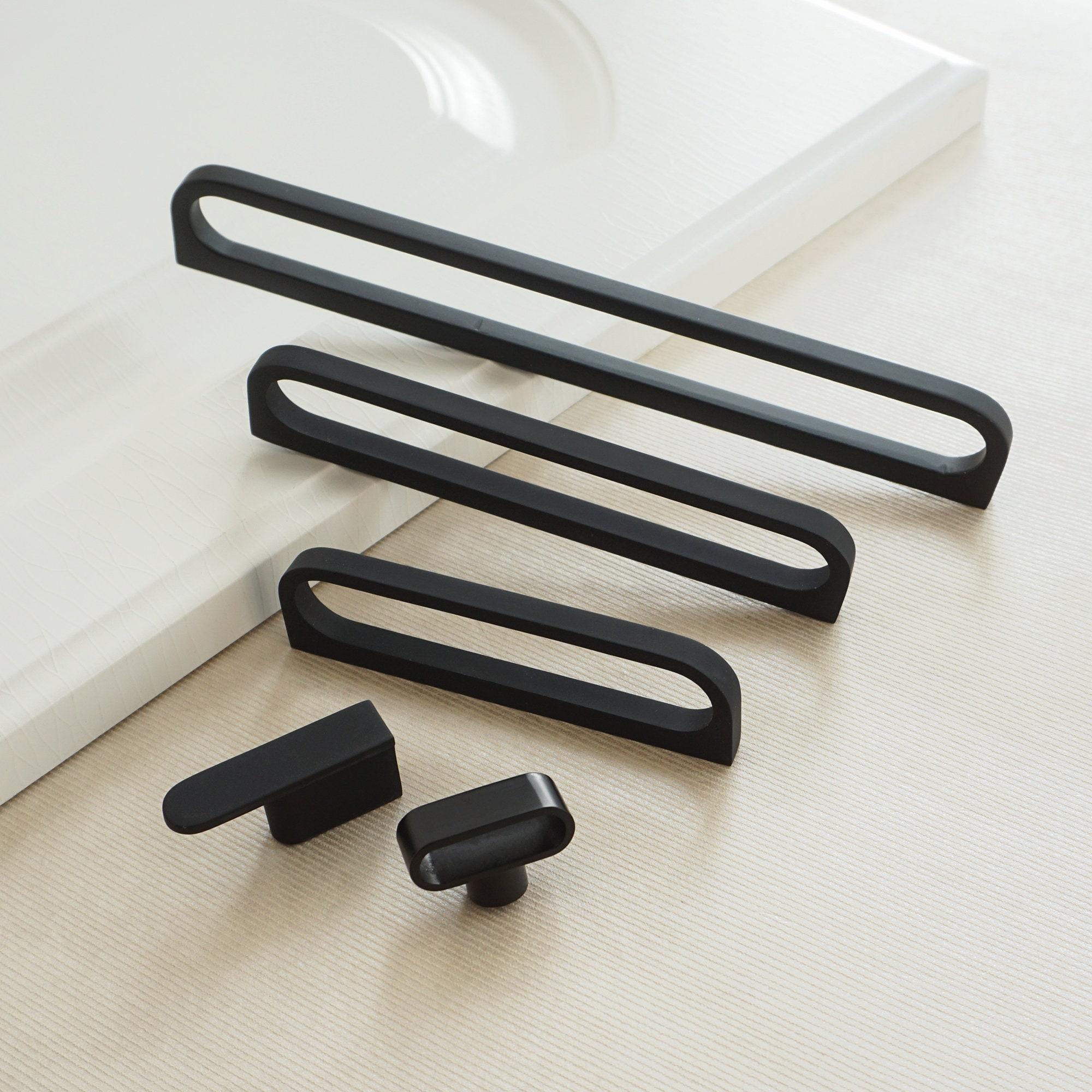 3 65 5 7 55 12 6 Modern Cabinet Handles Knobs Hardware Black Drawer Pulls Dresser Kitchen Hollow