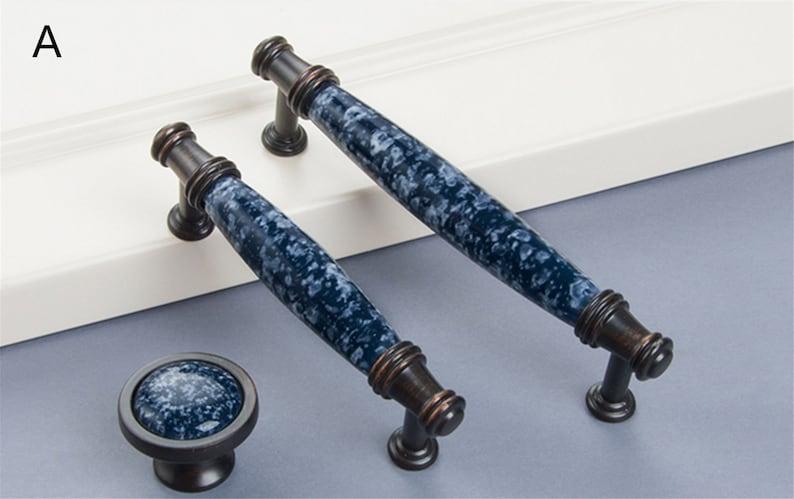 3.78/'/' 5.0 Ceramic Cabinet Door Handles Dark Blue Drawer Pulls Handles Black Copper Chic Furniture Hardware Kitchen Cabinet Pulls 96 128mm