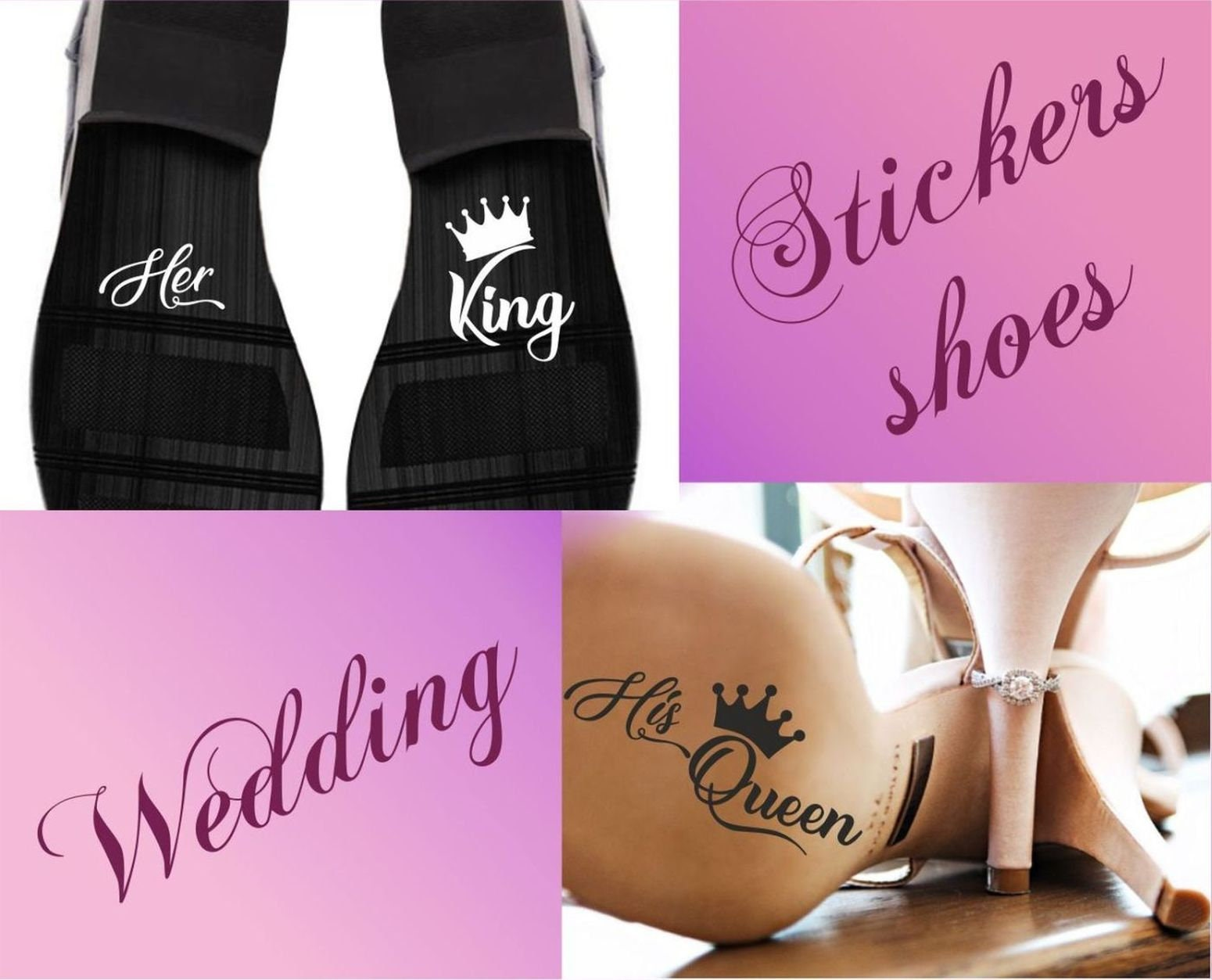 Her king his queen or her prince his princess crown funny tease wedding bride groom shoe stickers marriage vinyl wd87