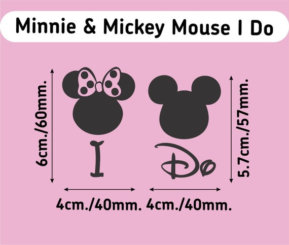 Mickey /& Minnie Mouse Disney Wedding Vinyl Decals//stickers Silver Or Gold 40mm