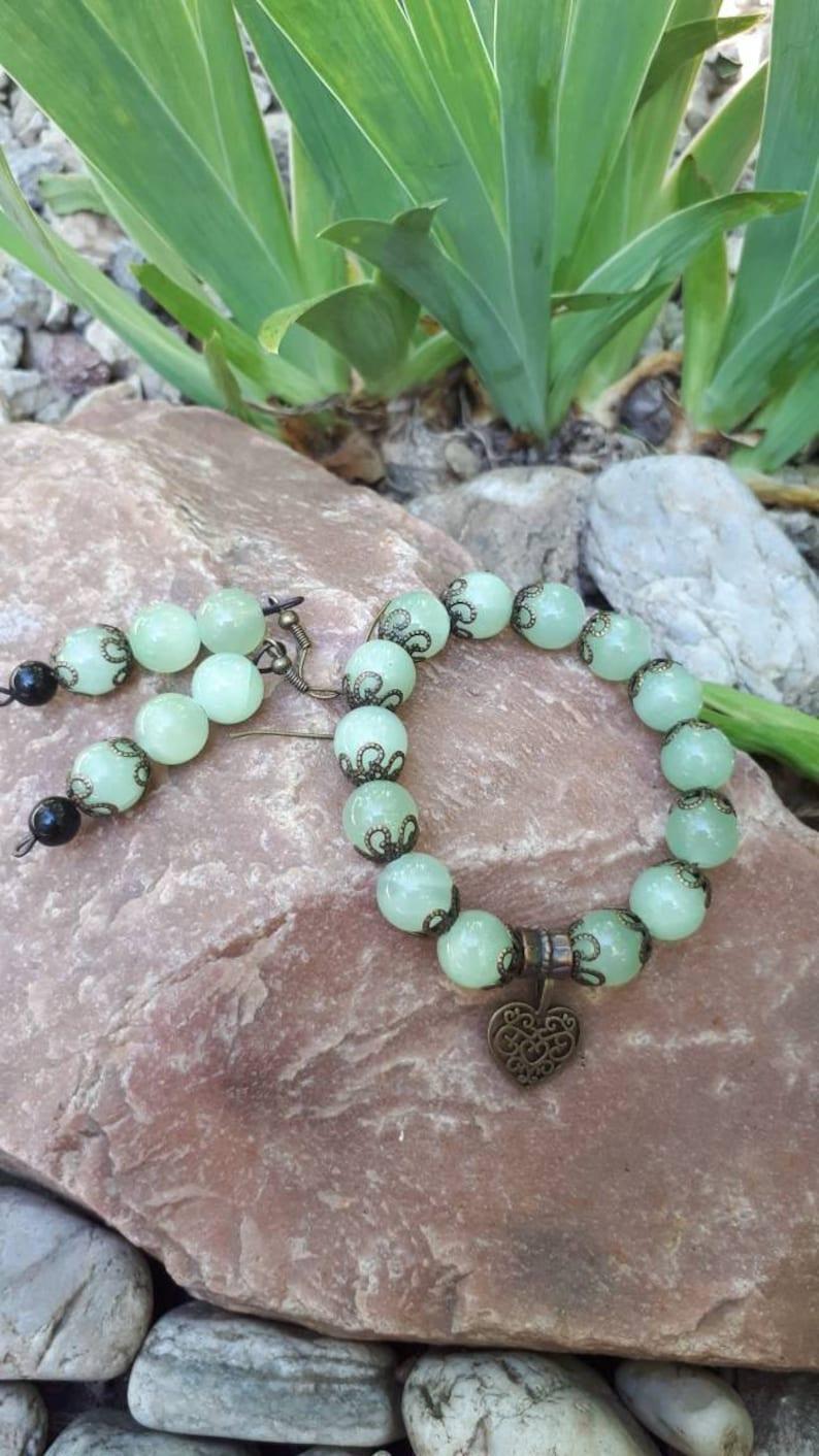 Green onyx and Black Agate beaded earrings Long beaded earrings