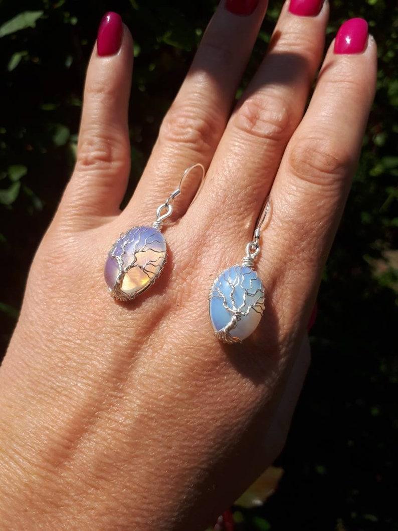Silver MoonstoneOpalite tree of life jewelry Tree of life pendant Tree of life earrings Wire Wrap jewelry