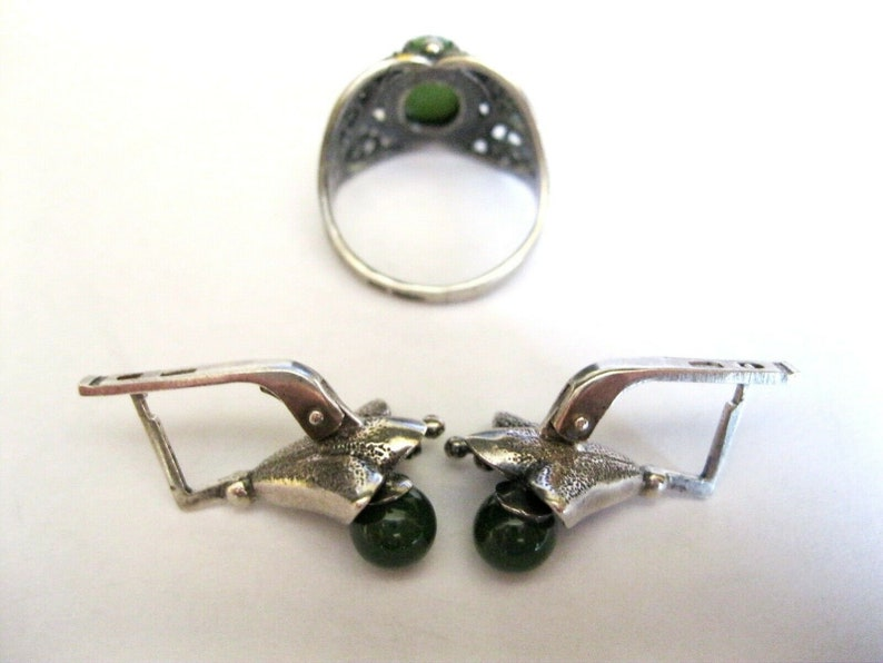 Super Unique Soviet Set of Earrings Ring JADE Silver 925 USSR AMAZING!