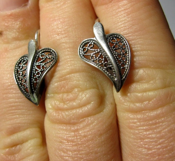 Awesome Delicate Vintage EARRINGS Silver \u0421ubic Zircon 925 USSR